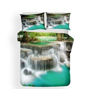 Image 2 - 寝具セット 3D プリント布団カバーベッド大人のためのセット森滝ホームテキスタイル寝具枕 # SL08