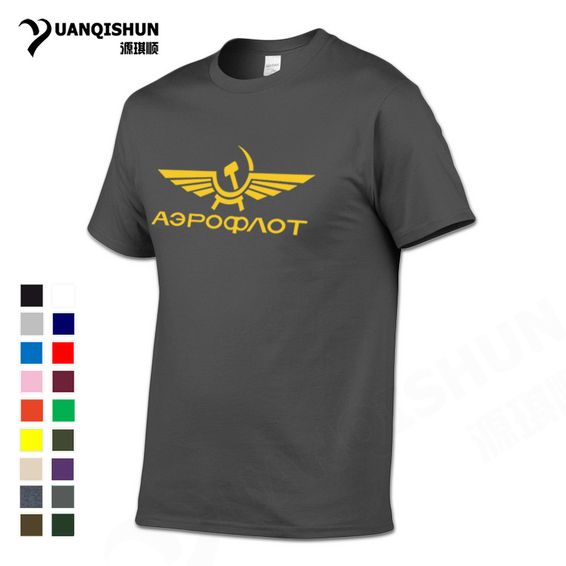 YUANQISHUN Boutique   T  -  shirt   Aeroflot Tshirt CCCP Civil Aviation Print   T     Shirt   USSR RUSSIA AIRFORCE RUSSIAN Top Quality Men Tees