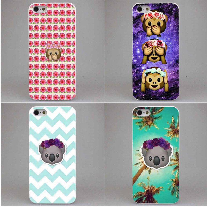 New Three Lovely Emoji Monkeys Ultra Thin Cover Case For iPhone 4 4S 5 5S 5C 6 6S 6Plus 6s Plus High quality printing
