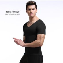 Men Ultra-thin Sports Quick Drying Breathable Elastic Short Sleeve Shirt Gym Outdoor T-shirt Tops Clothes Sport V Neck