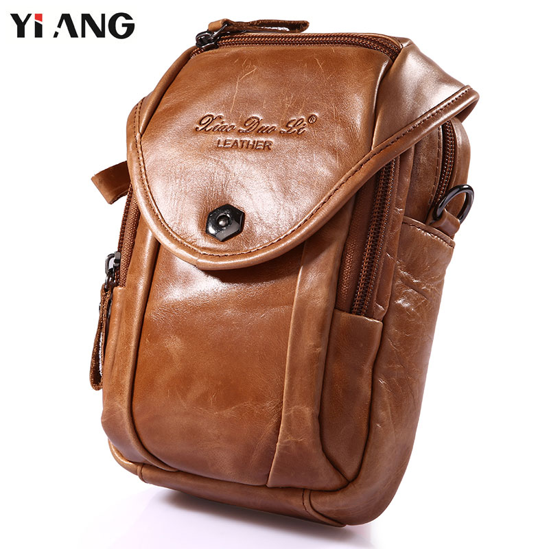 YIANG Small Shoulder Bags For Men Genuine Leather Men's Bag Cross body Bag Waist Bag Fashion Retro Fanny Molle Pack 5 colors teemzone men s genuine leather shoulder messenger cross body satchel day fanny zipper waist pack handbag bag wallet s4001