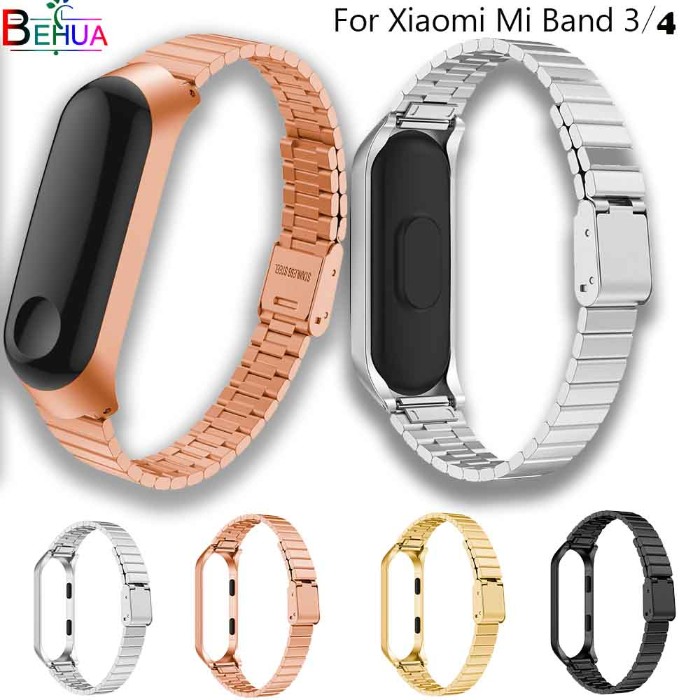 Strap For Xiaomi Mi Band 3/4 Bracelet Accessories Stainless Steel Replacement Wristband For MIband 4 Smart Watchbands+Metal Case
