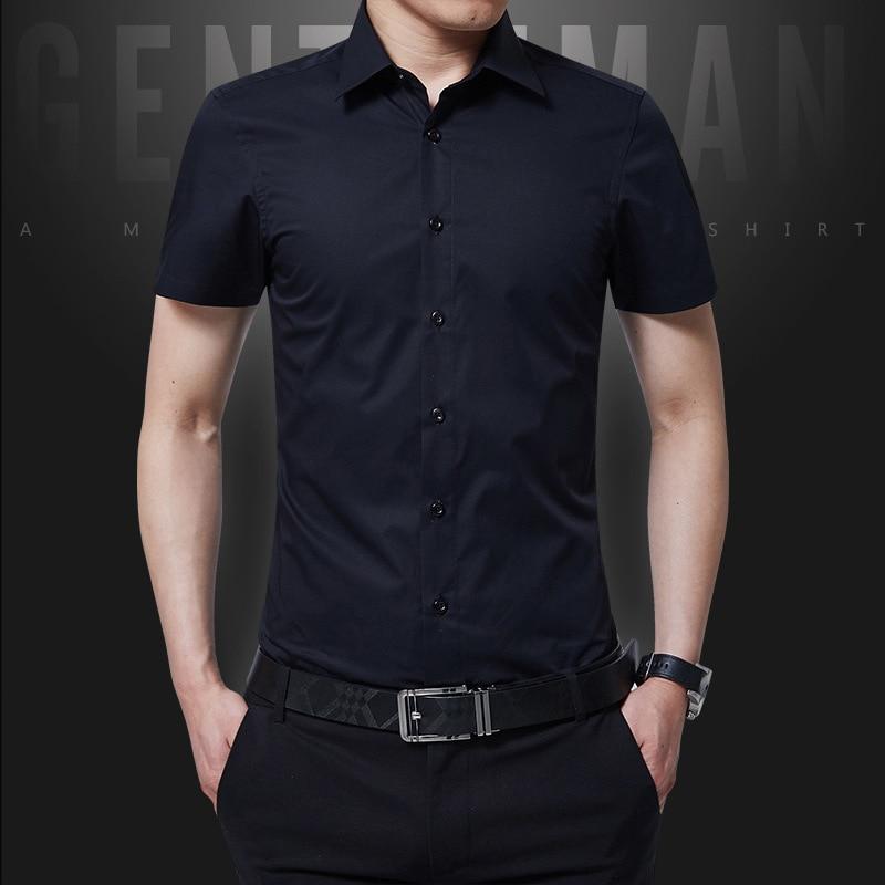 1pcs 남성 플러스 사이즈 Slim fit shirts 2019 여름 순수한 면사 얇은 반소매 드레스 셔츠 남성용 스키니 셔츠 overhed tops boys