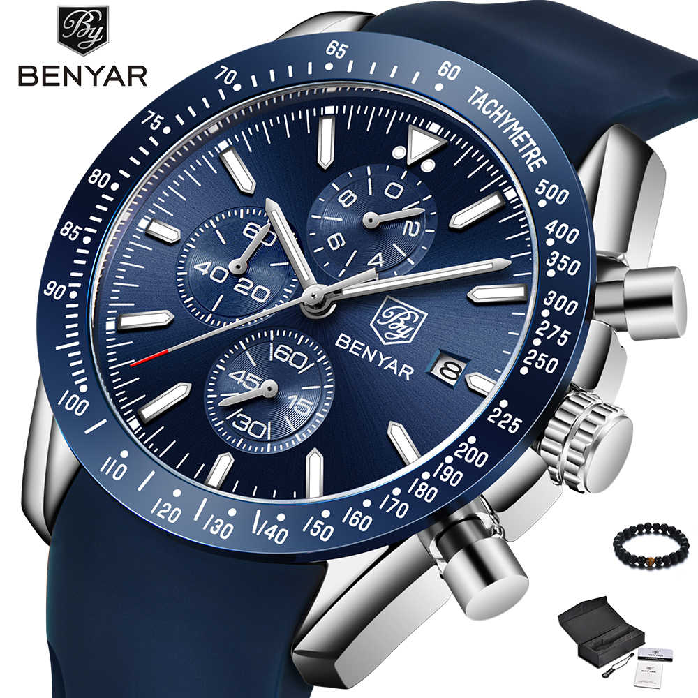 BENYAR Watch Men Luxury Brand Silicone Band Quartz Wristwatch Mens Watches Blue Fashion Waterproof Military Sport Watch Man 2019