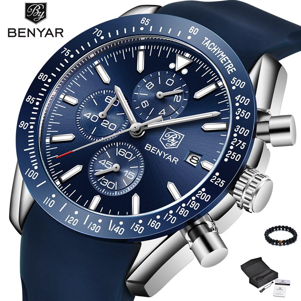 BENYAR Watch Men Luxury Brand Silicone Band Quartz Wristwatch Mens Watches Blue Fashion Waterproof Military Sport Watch Man 2019