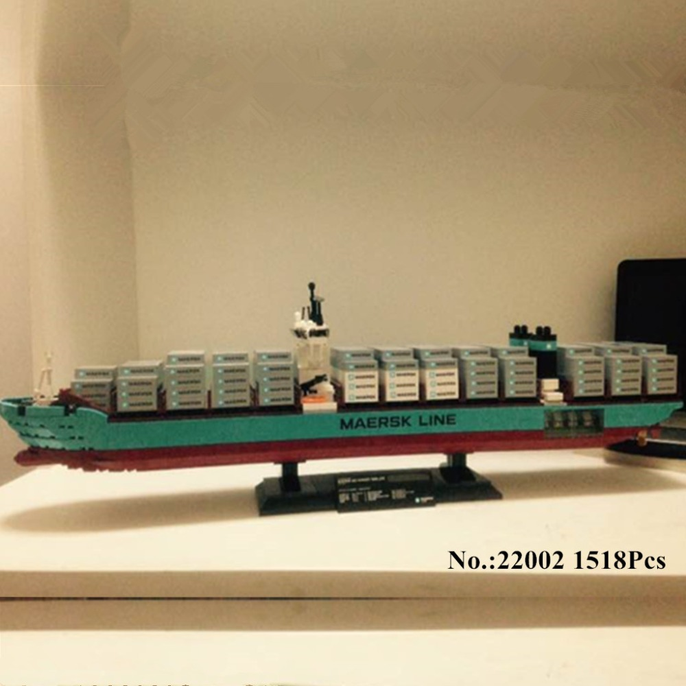 H HXY 22002 1518Pcs Technic Series The Maersk Cargo Container Ship Set Educational Building Blocks Bricks
