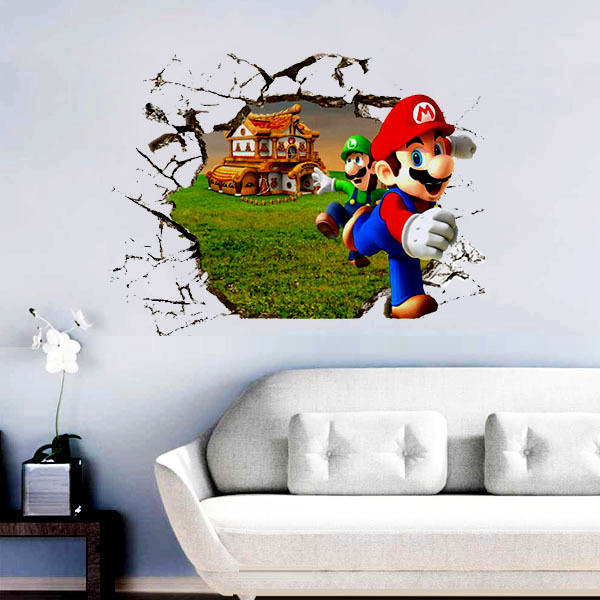 Super Mario Bros Cartoon 3D Wall Stickers For Kids Rooms Decoration Decal  Nursery Art Vinyl Wallpaper Vinilos Paredes Home Decor In Wall Stickers  From Home ... Part 92