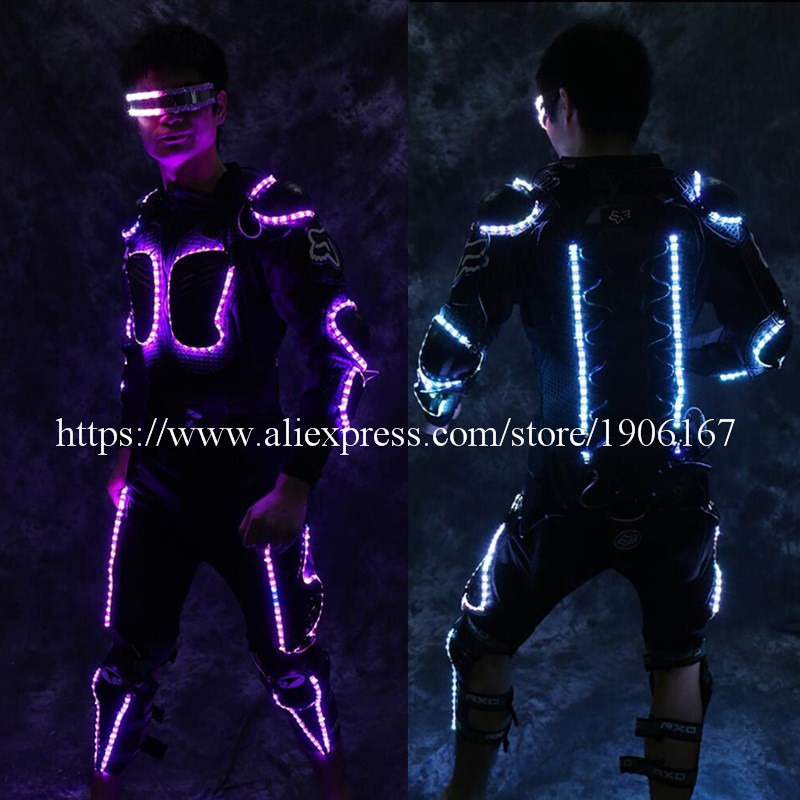 New Arrival Fashion LED Armor Light Up Jackets Costume Glove Glasses Led Outfit Clothes Led Suit For LED Robot suits0