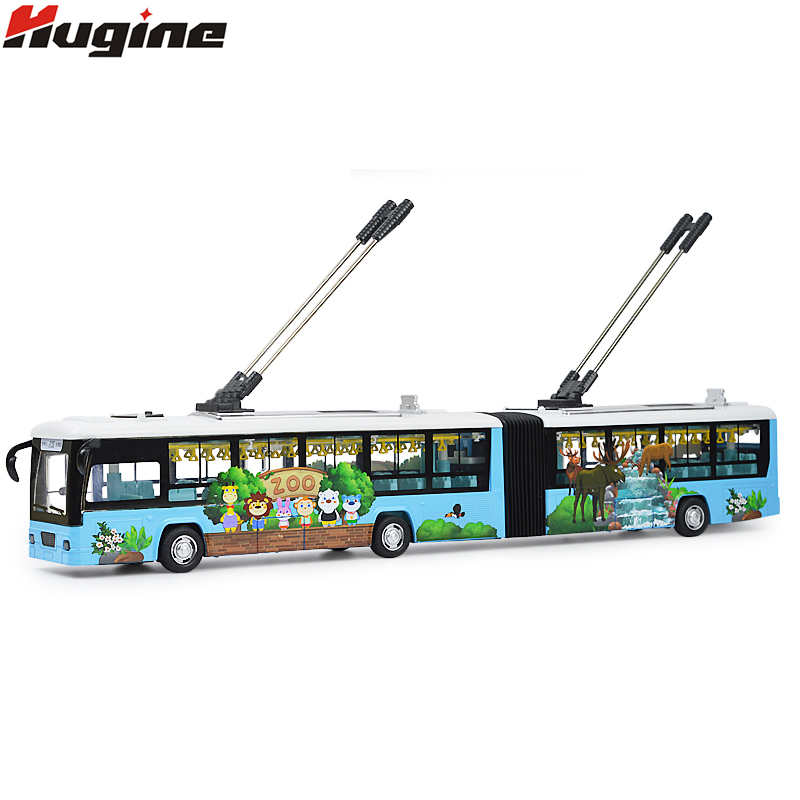 Electric Trackless Double-Decide Tram Toys Sightseeing Tour Bus Sound And Light Pull Back Open The Door Children Toy Model Gifts 1 43 ankai bus sightseeing tour of london bigbus big bus diecast model bus open top