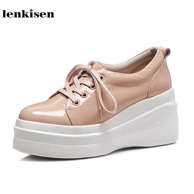 Lenkisen 2018 cow leather round toe super high heels lace up solid causal shoes high street fashion women vulcanized shoes L95