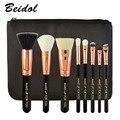 Make-up Para Você Escovas do Cosmético Definir Cozimento Verniz Punho De Madeira com Zip PU Saco 8 pçs/set Makup Escovas Kit Ouro Rosa tube