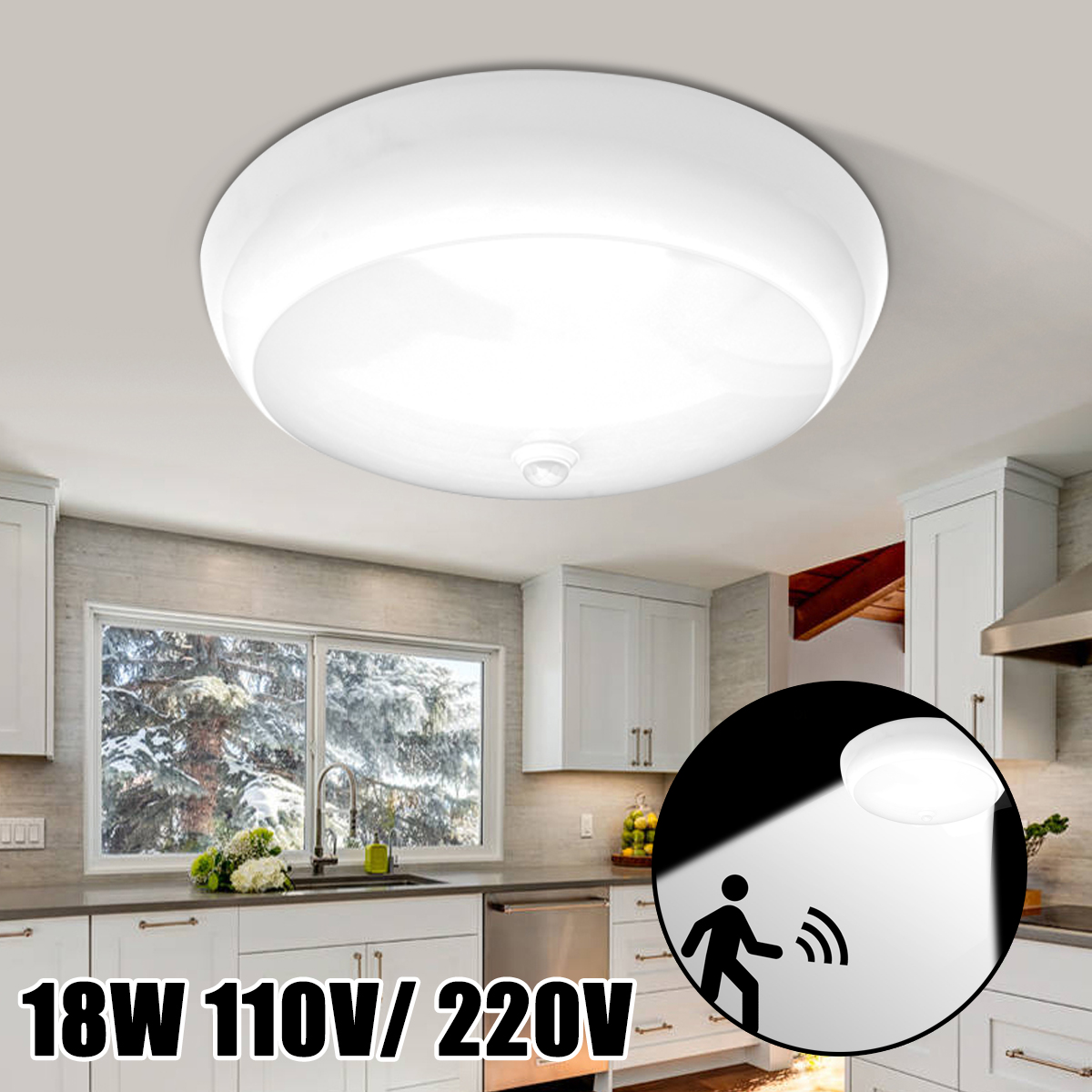 18W PIR Motion Sensor LED Ceiling Lights Modern Flush Mount Ceiling     18W PIR Motion Sensor LED Ceiling Lights Modern Flush Mount Ceiling Lamp  Living Room Lighting Fixture