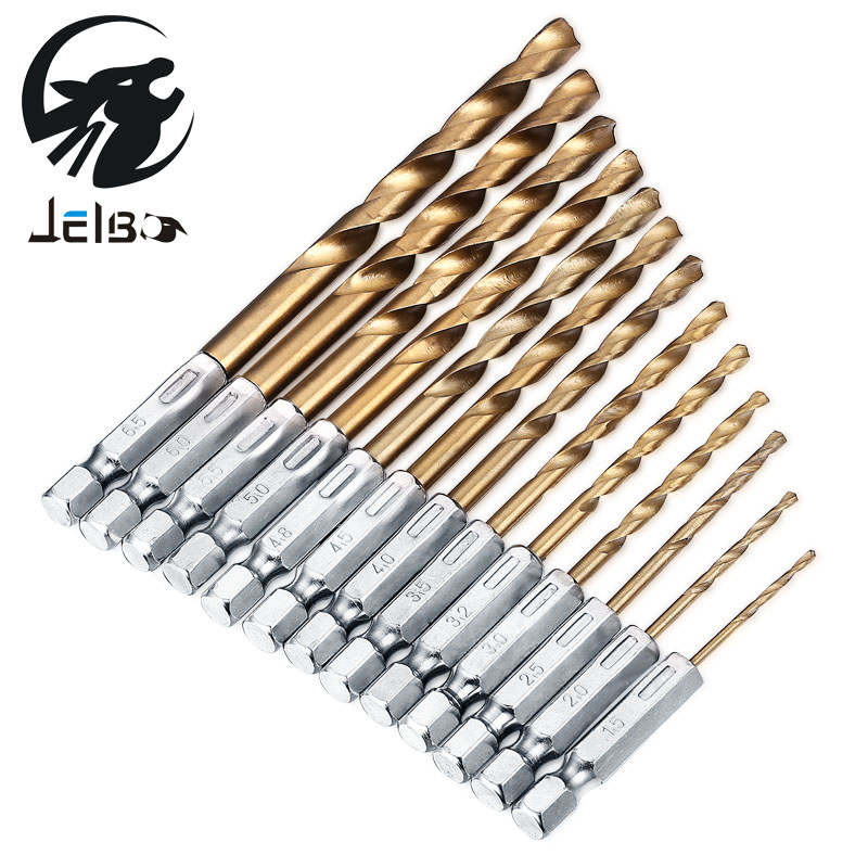 Jelbo 13pcs Drill Bit Set Hand Tools Screw Extractor Power Twist Drill Bits Six Angle Screw Metal Woodworking Tools Drill Bit