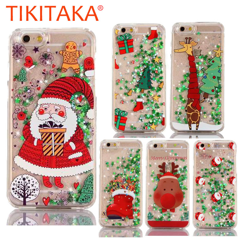 best service 1ef71 aa6b1 Christmas Phone Cases For Iphone 8 7 6 6S Plus Case Cute Cartoon Deer Tree  Santa Claus Glitter Stars Quicksand Hard Cover Gifts
