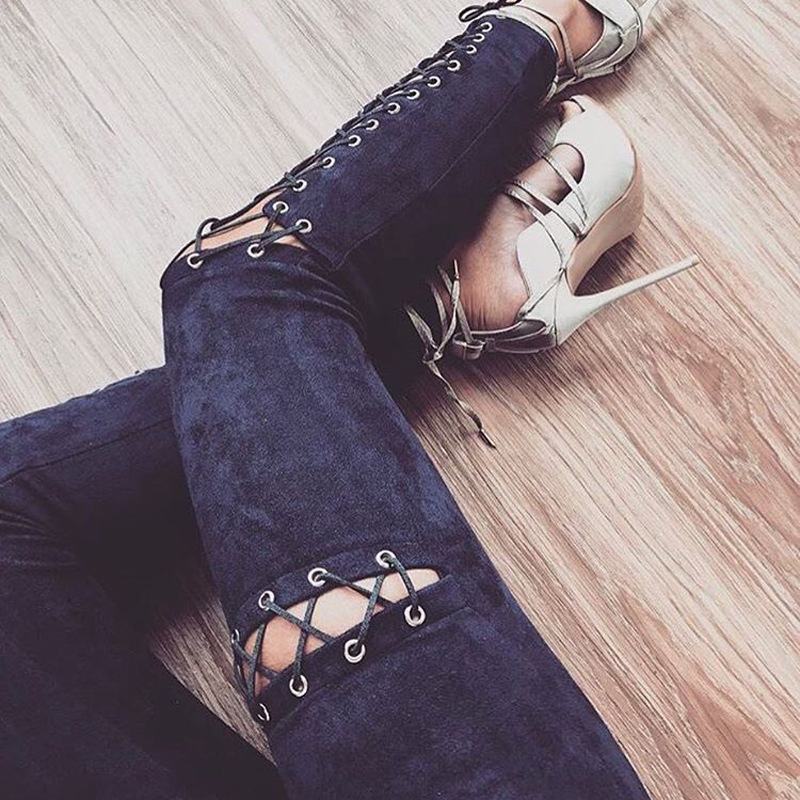 Fashion Cross Lace Up Faux Suede   Leggings   Women High Waist Fitness   Legging   Slim Party Club   Leggings