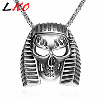 LKO New Arrival Fashion Punk Jewelry Gothic Skeleton Pendant Necklace Silver Plated Chain Choker Necklace For Men&Women