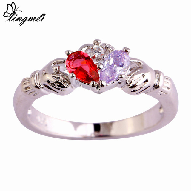 lingmei Claddagh Jewelry Fashion New Lady Blue Pink White CZ  Silver Color Ring Size 6 7 8 9 10 11 12 Love Style Gift Wholesale 2