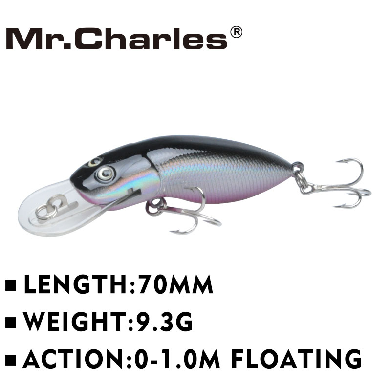 Mr.Charles MR39 1 stk fiske lokke, 70mm / 9.3g kvalitet profesjonell minnow hard agn 0-1.0M Flytende 3D Eyes Fishing Tackle