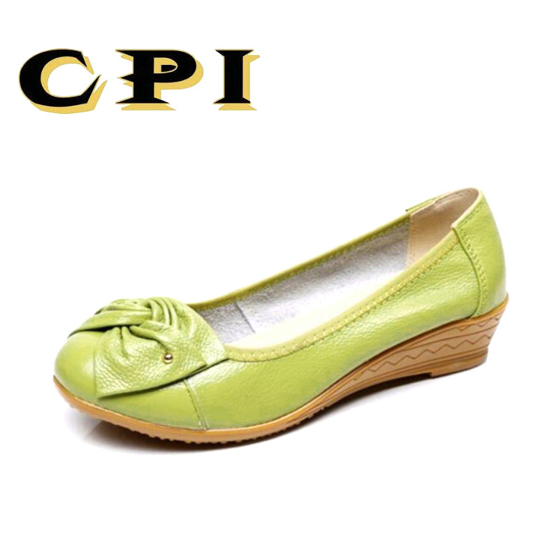 CPI Genuine Leather Shoes Women Butterfly-knot Loafers Women Flats Ballet Autumn Winter Casual Flat Shoes Woman Moccasins NN-025 designer women loafers flower genuine leather shoes ladies moccasins ballet flats round toe casual zapatos mujer size 35 44