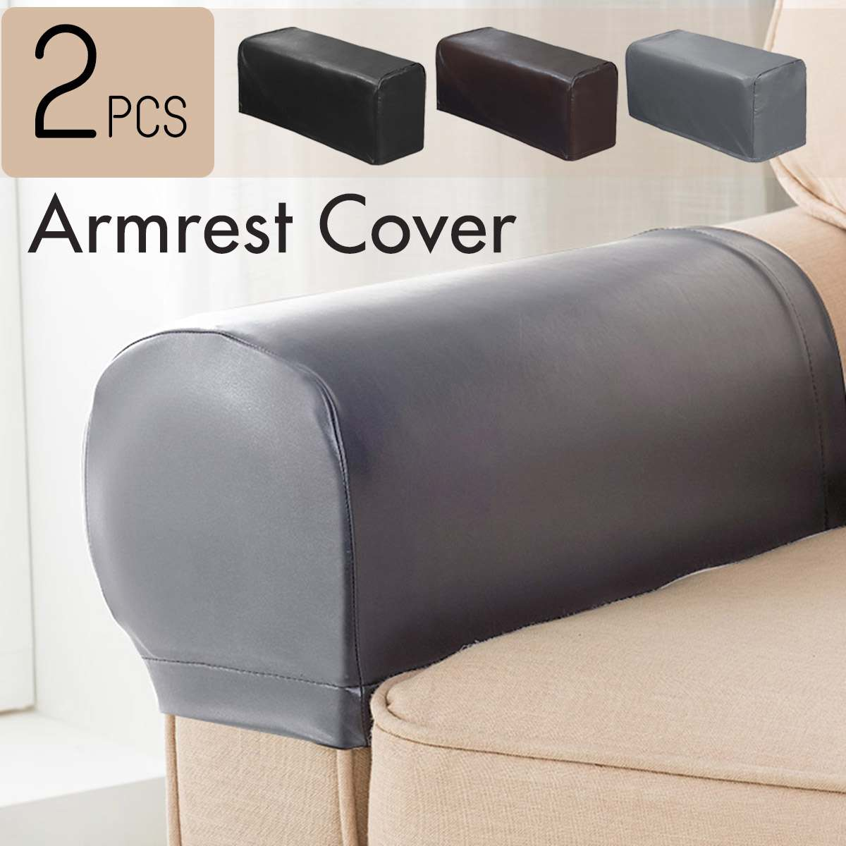 Us 8 49 15 Off Elastic 2pc Set Pu Leather Sofa Covers Waterproof Sofa Armrest Covers For Couch Chair Arm Protectors Slipcover Stretchy In Sofa Cover