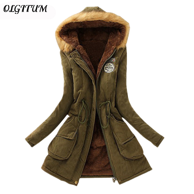 S 3XL OLGITUM 2019 Winter Coat Women Parka Casual Outwear Military Hooded Thickening Cotton Coat Winter