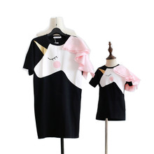 Family Look Mother Daughter Dresses 2018 Fashion Unicorn Cotton Top Dress Mommy and Me Clothes Casual Cartoon H0017