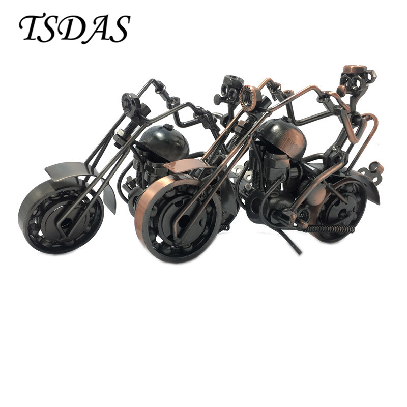 Creative Metal Motorcycle Model With Black or Brown Color Wrought Iron Motorcycle Models Miniature For Boyfriend Gift