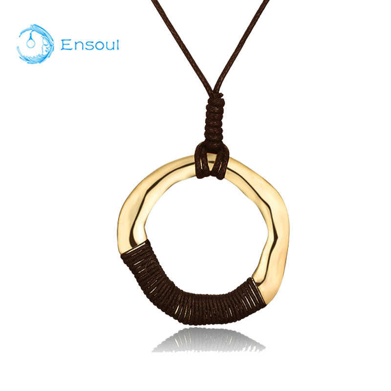 Ensoul New Fashion Beautiful Gold Pendant Necklace  Women Round Alloy Jewelry Size Adjustable Gift For Girls And Ladies