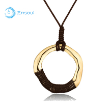 Ensoul 2018 New Fashion Beautiful Gold Pendant Necklace  Women Round Alloy Jewelry Size Adjustable Gift For Girls And Ladies
