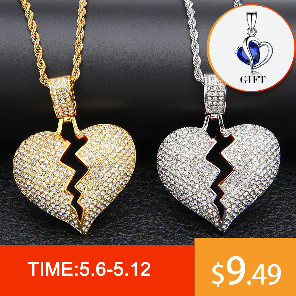 Hip Hop Rapper Full Aaa Bling Iced Out Broken Heart Pendants Necklace For Men Women Lovers Jewelry Gold Silver Gift