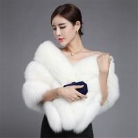 Натуральным лисьим мехом платок белый мех пальто Свадебное Белая шаль накидка Обёрточная бумага Свадебная шаль куртка Болеро Silver Fox шаль че