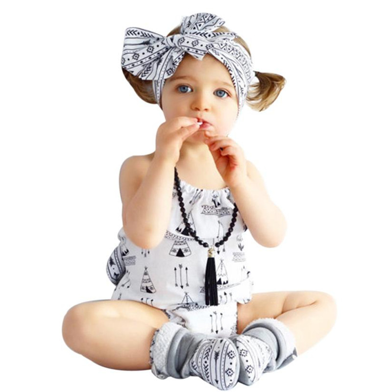 2017 New Summer Newborn Infant Baby Girl 2pc sets Halter Romper Jumpsuit Headband Clothe ...