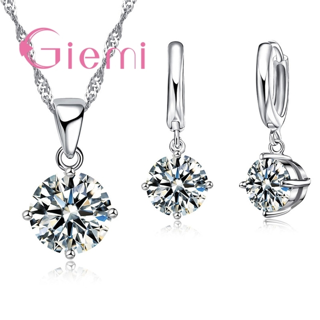 Giemi Hot Sale 8 Colors Crystal Pendant Necklace Earrings Set S90 Silver Color Elegant Jewelry Set Women Valentine Gifts 1