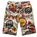 O envio gratuito de 2017 homens Verão calções calções de praia masculino calções de linho casuais tamanho grande floral tamanho M-6XL26 XYQ