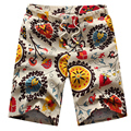 free shipping 2017 Summer men's casual linen shorts large size floral shorts male beach shorts size M-6XL26 XYQ