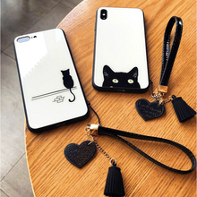 Cute cat iPhone XS MAX mobile phone case Apple / XR tempered glass cover 6S 7 8plus anti-drop sets