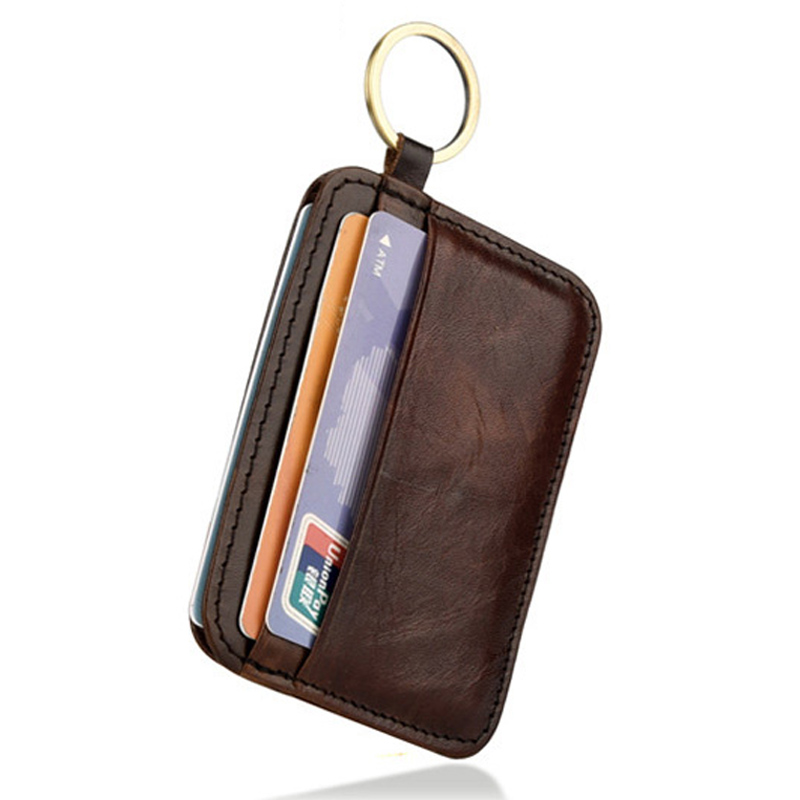 New Vintage Genuine Leather Mini Wallet Men's Credit Card Holder Slim Clutch Money Bag Small Coin Purse For Women
