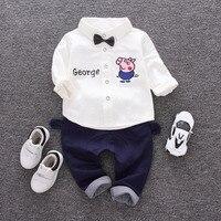 Peuter Jongens Kleding Lange Mouw T-shirt + Broek 2 stks kinderen boog Sets Baby Boy Suits Pig Breien Weinig Heren kostuums