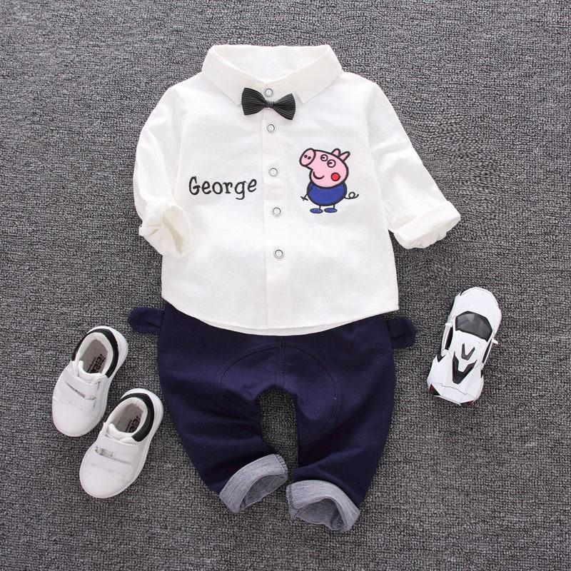 Toddler Boys Clothes Long Sleeve T Shirt + Pants 2pcs Children's bow Sets Baby Boy Suits Pig Knitting Little Gentlemen Costumes