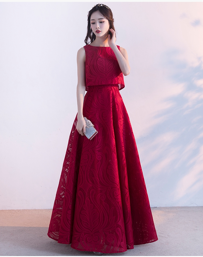 La Estrella De Vestidos De Madrinha2019 New Lace A Line 2 Piece Burgundy Bridesmaid Dresses Long Beautiful Wedding Guest Dresses
