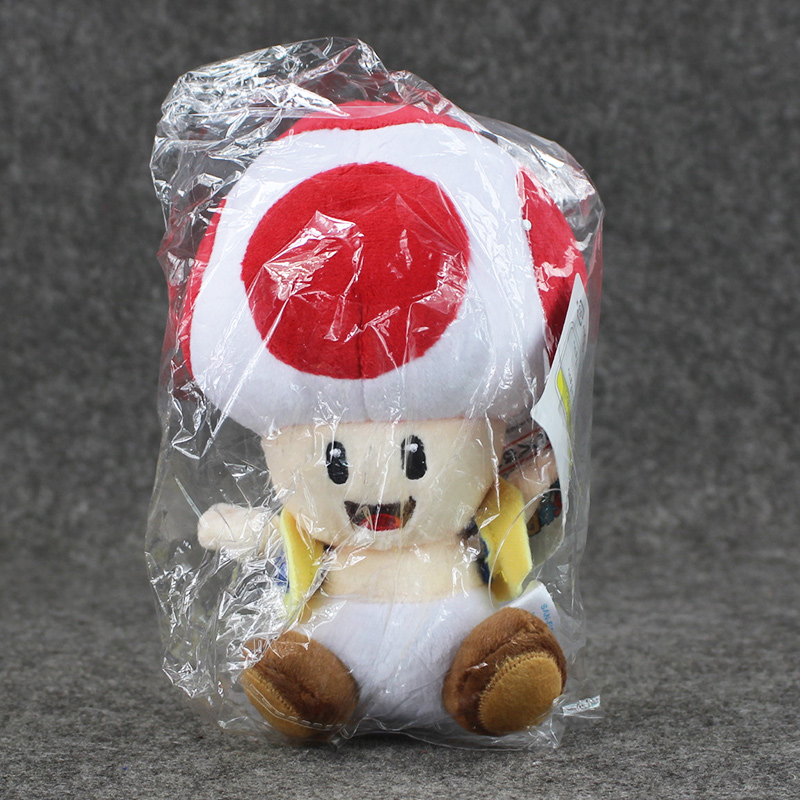 1pcs 7'' 17cmCute Super Mario Bros Plush Toys Mushroom Toad Soft Stuffed Plush Doll with Sucker Baby Toy For Kids 5