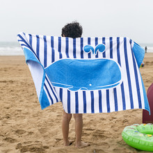 160X80cm blue stripe whale print large size thicken bath towel no formaldehyde children adult pure cotton velvet beach towel T5a wavy stripe elepant print wall decro beach towel