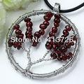 UMY New Trendy Silver Plated Wire Winding Wisdom Tree Life Garnet Pendant Fashion Jewelry