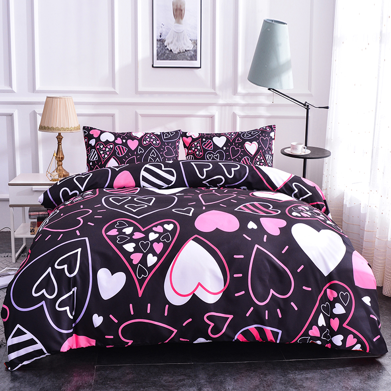 Boniu Colorful Hearts Pattern Bedding Sets 2 3pcs Soft Duvet Cover Quilt Cover Pillow Covers Twin