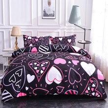 Boniu цветные сердечки рисунок постельного белья 2/3 шт Мягкий пододеяльник, наволочки охватывает Твин Полный queen размеры постельное