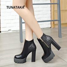 e801cff1c6d Women Thick High Heek Ankle Boots Side Zipper Platform Winter Fashion Woman  Shoes Wine Red Black