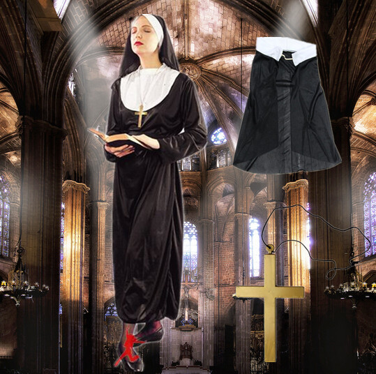 2017 Female Priest pastor Classic Sister costume with hat cosplay halloween party nun costumes women costume Teresa clothing