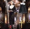 2017 Mujer Sacerdote pastor Hermana Clásico traje con sombrero de cosplay del partido de halloween ropa trajes mujeres traje de monja Teresa