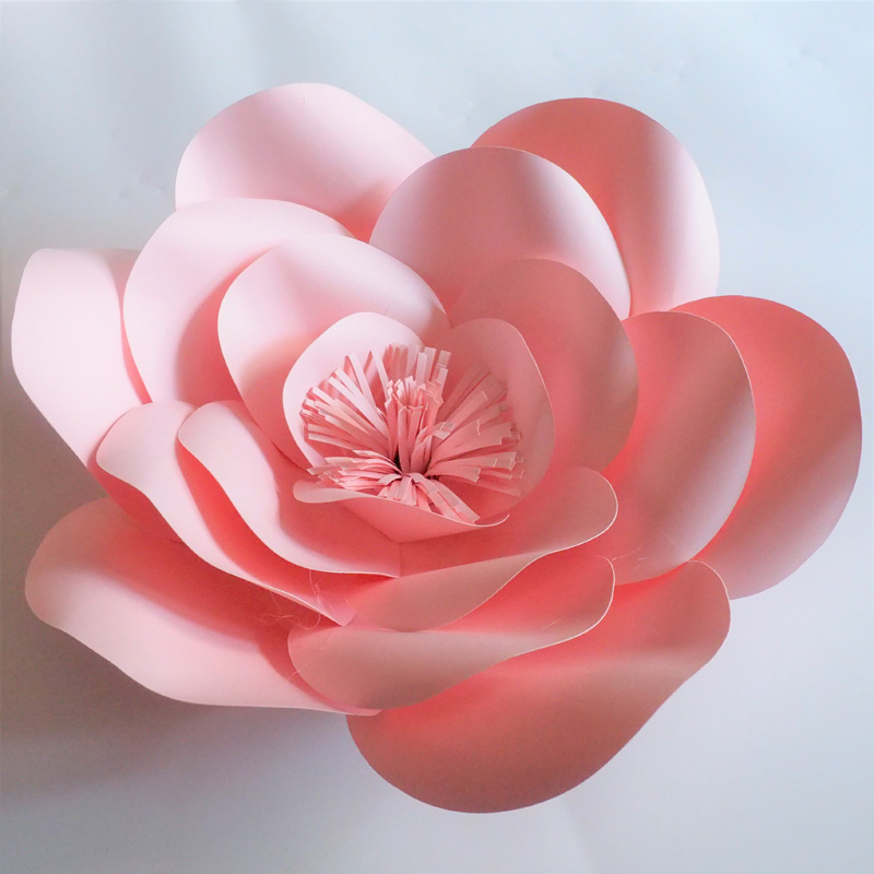 2018 Baby Pink Giant Paper Flowers Rose Backdrop 8PCS + Leaves 7PCS For Wedding & Event Baby Nursery Baby Shower Handmade Roses