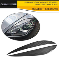 Dry Carbon Headlight Covers Front Eyebrows Eyelids For Porsche Macan Base Turbo Sport Utility 4 Door
